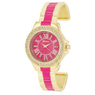 Gold Metal Cuff Watch With Crystals - Pink - Charmed Costumes