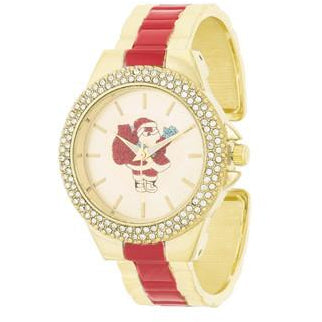 Red And Gold Metal Santa Cuff Crystal Metal Watch - Charmed Costumes