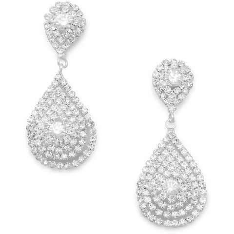Elegant Silver Tone Tear Drop Crystal Fashion Earrings