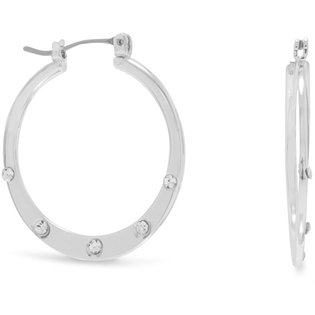 Silver Tone Fashion Hoops with Crystals