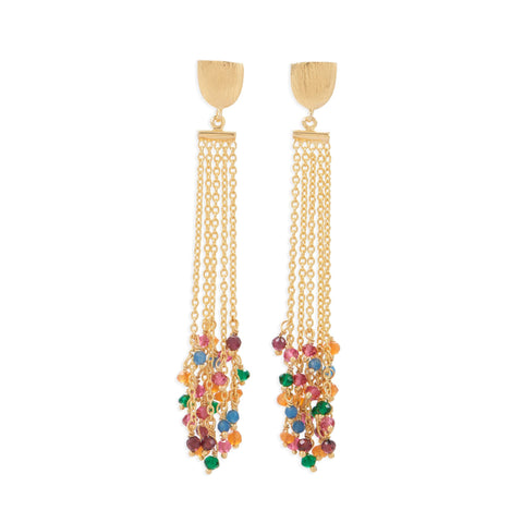 Gold Plated Brass Multi Color Fashion Earrings