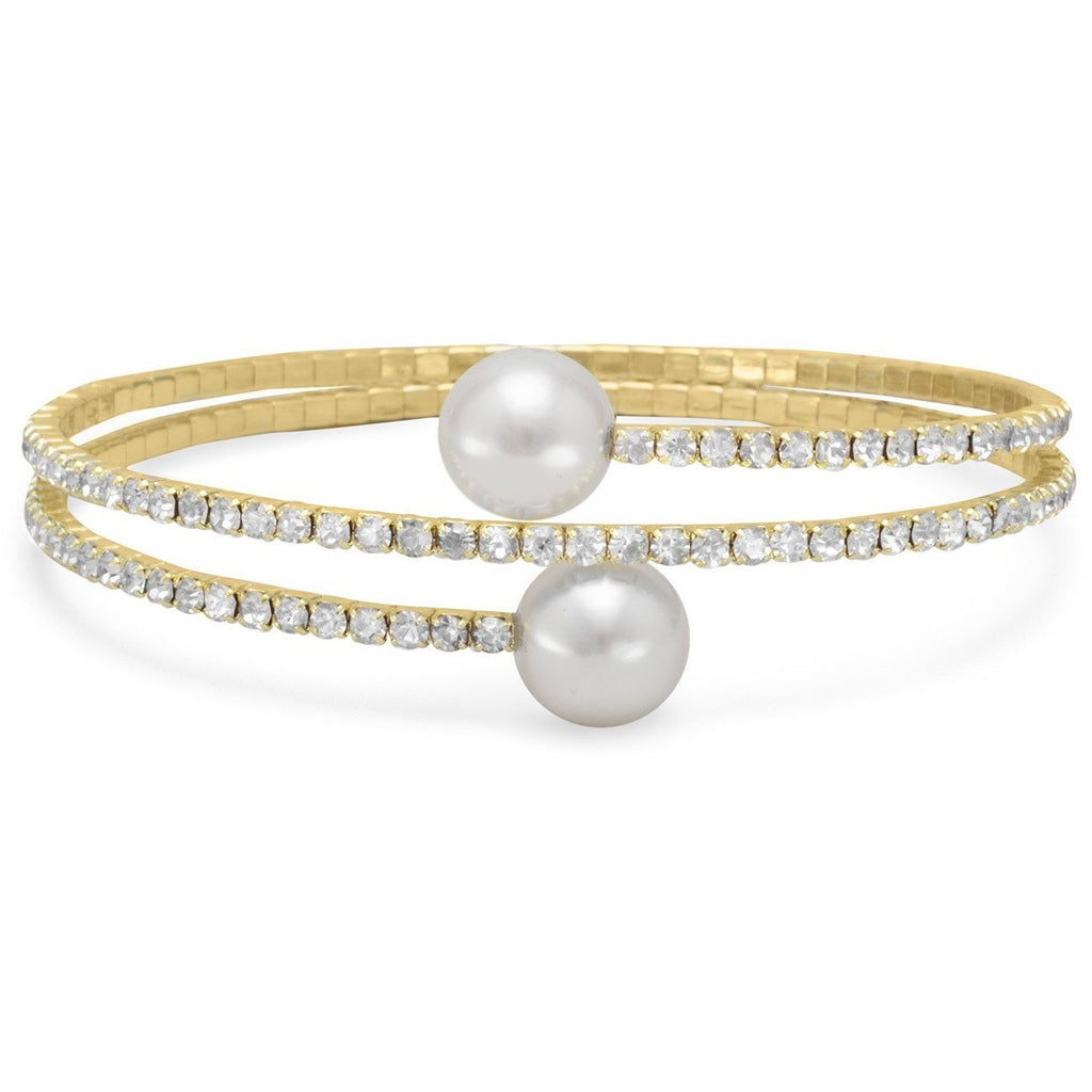 Gold Tone Crystal and Simulated Pearl Fashion Memory Bracelet