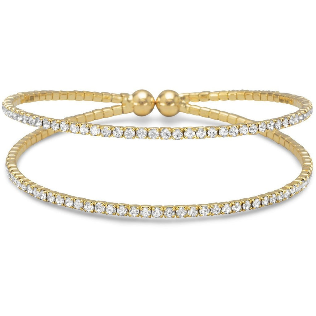 Gold Tone Double Row Crystal Fashion Memory Bracelet