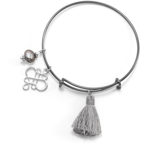 Black Tone Expandable Silver Tassel Charm Fashion Bangle Bracelet