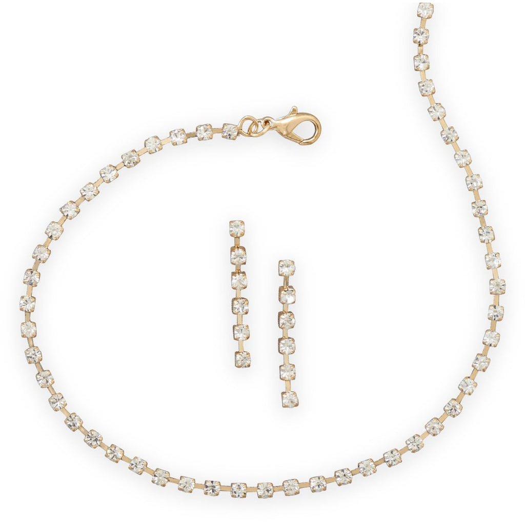 Gold Tone Crystal Fashion Choker and Earring Set