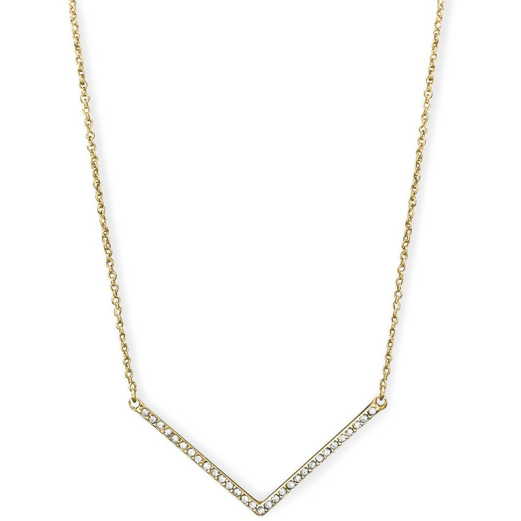 "Gold Tone ""V"" Fashion Necklace with Crystals"