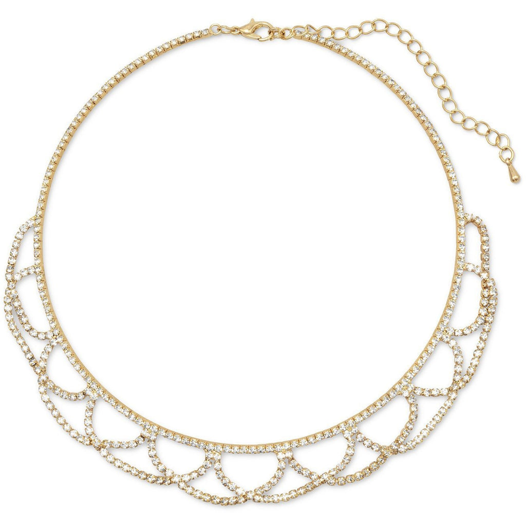Simply Elegant Gold Tone Crystal Lace Fashion Necklace