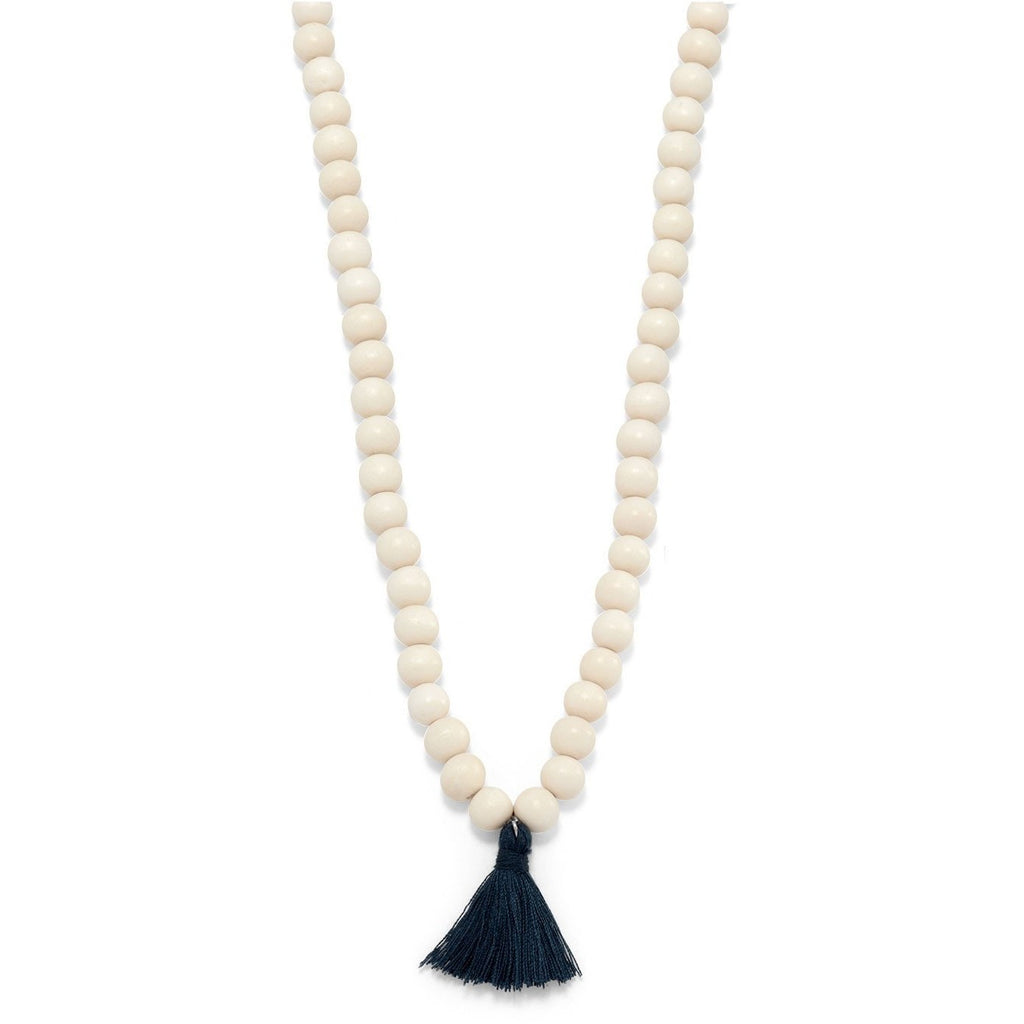 White Wood Mala Bead with Tassel Fashion Necklace