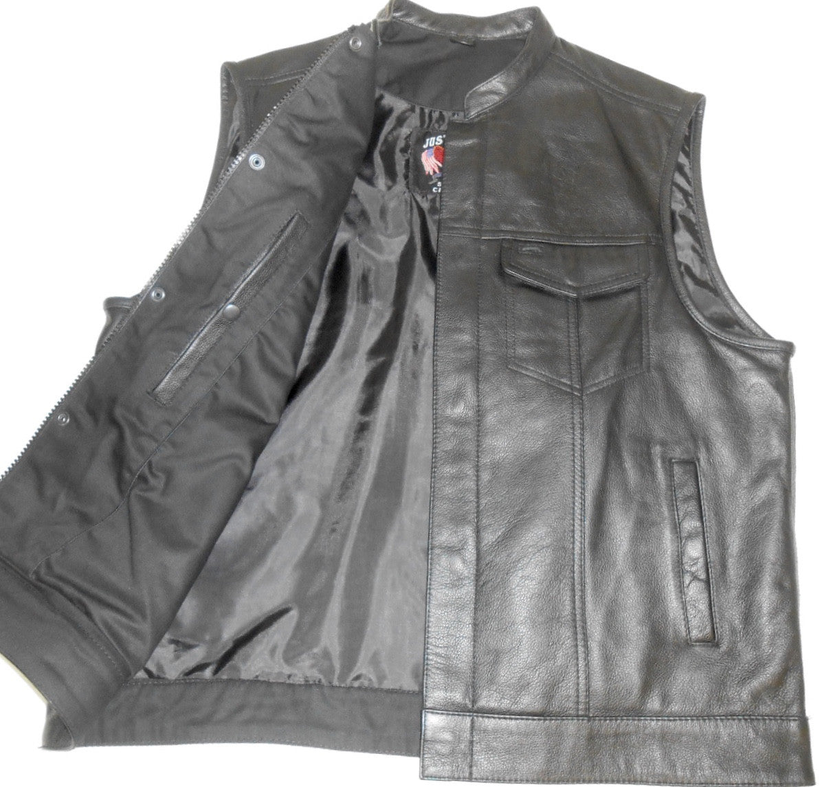 Men's Cut Off Vest Hidden Zipper and Snaps (Hand Pockets)