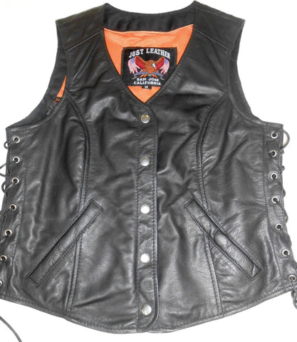 Women's Snap Front Long Riding Vest with Side Lace