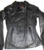 Women's Classic Angle Zipper Jacket with Braids and Liner