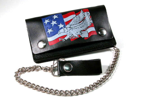 Medium Eagle and Flag Leather Wallet, Black