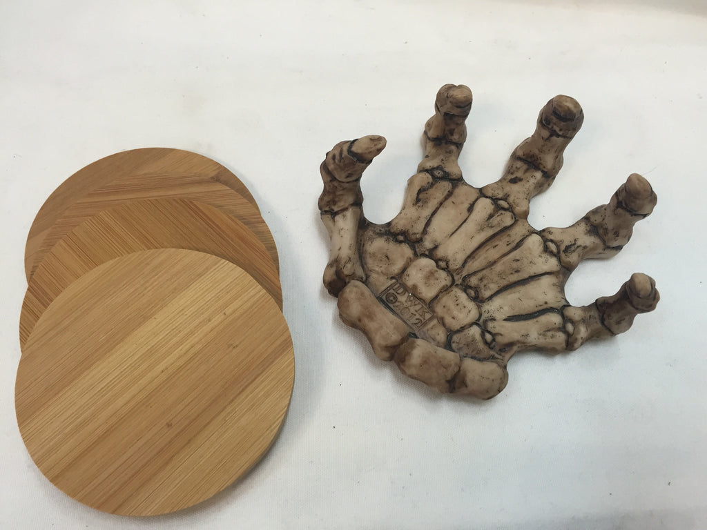 Bone Skeleton Hand Wooden Coaster Holder