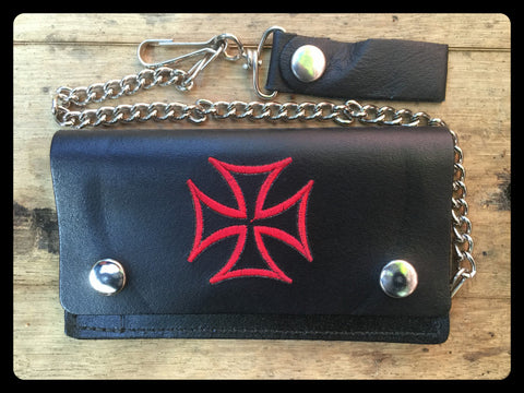 "Red Maltese Cross 6"" Black Wallet"