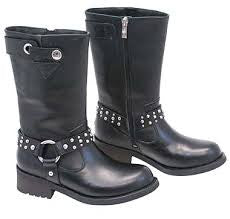 Motorcycle Boots with Studded Harness Straps Ad tec