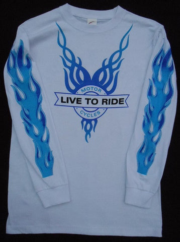 Blue V-Flame Live to Ride Long Sleeve