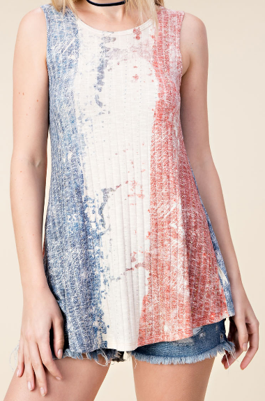 Red, White, and Blue Crystal Tank Top