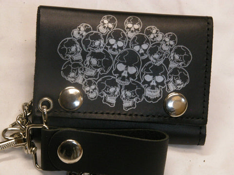 Tri-Fold Multiple Skull Heads Hard Leather Wallet