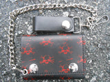 Tri-Fold Red Skull Hard Leather Wallet
