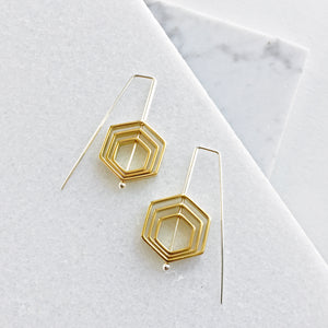 Concentric Hex Staple Earrings