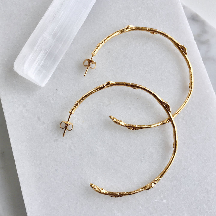 Budding Spring Twig Hoop Earrings