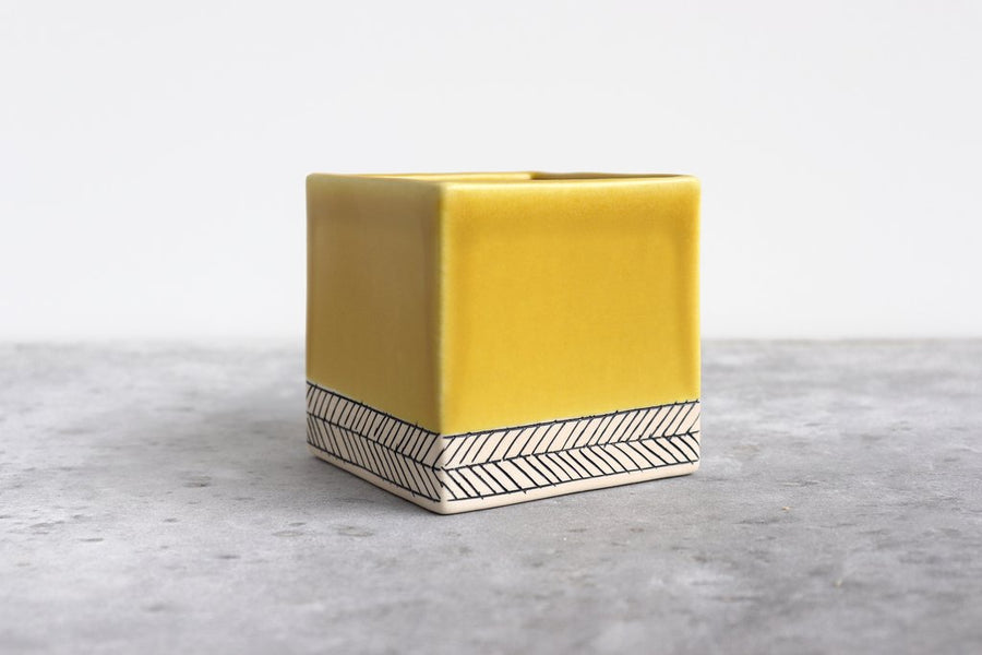 Yellow Herringbone Square Planters