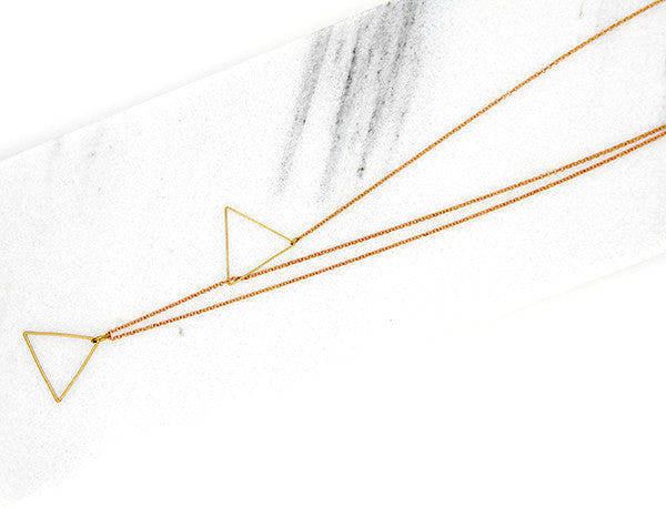 Floating Triangle Lariat Necklace