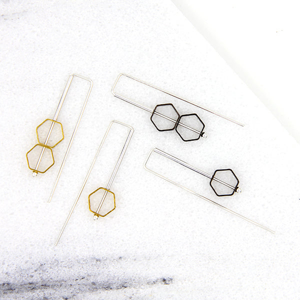 Asymmetrical Hex Staple Earrings