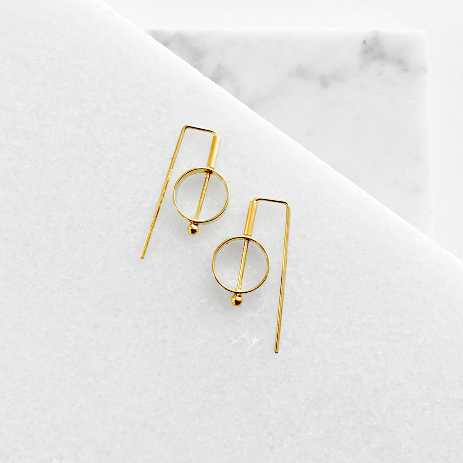 Mini Circle Staple Earrings
