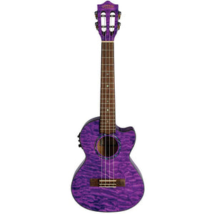 Lanikai QM-PUCET Purple Stain Quilted Maple Tenor Ukulele - Freebirdmusic