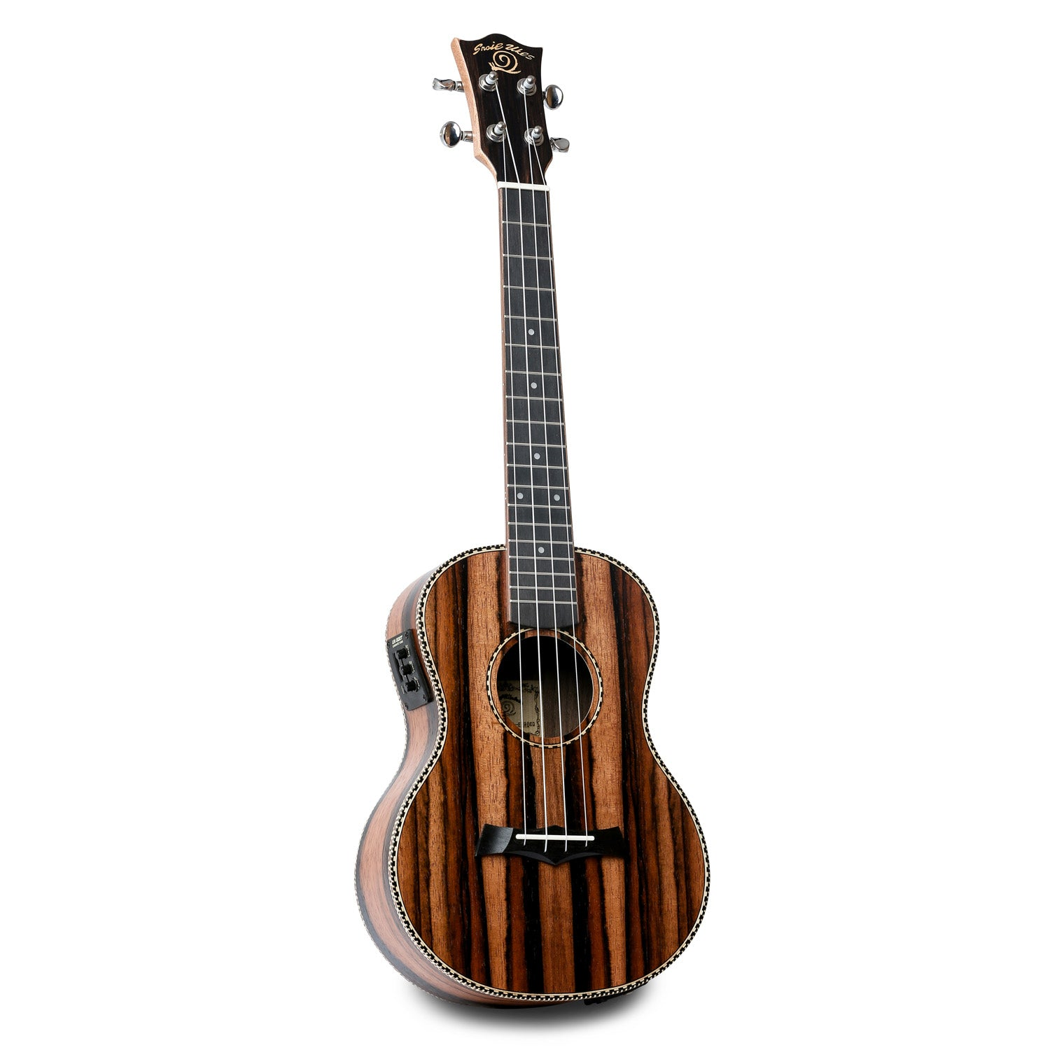 Snail UKT-E598EQ Electro-Acoustic Ebony Tenor Ukulele - Freebirdmusic