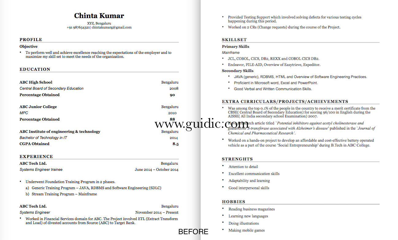 guidic resume samples a sample resume of a professional has been transformed into 2 different types of resume below we do not store any resumes of our customers as per our