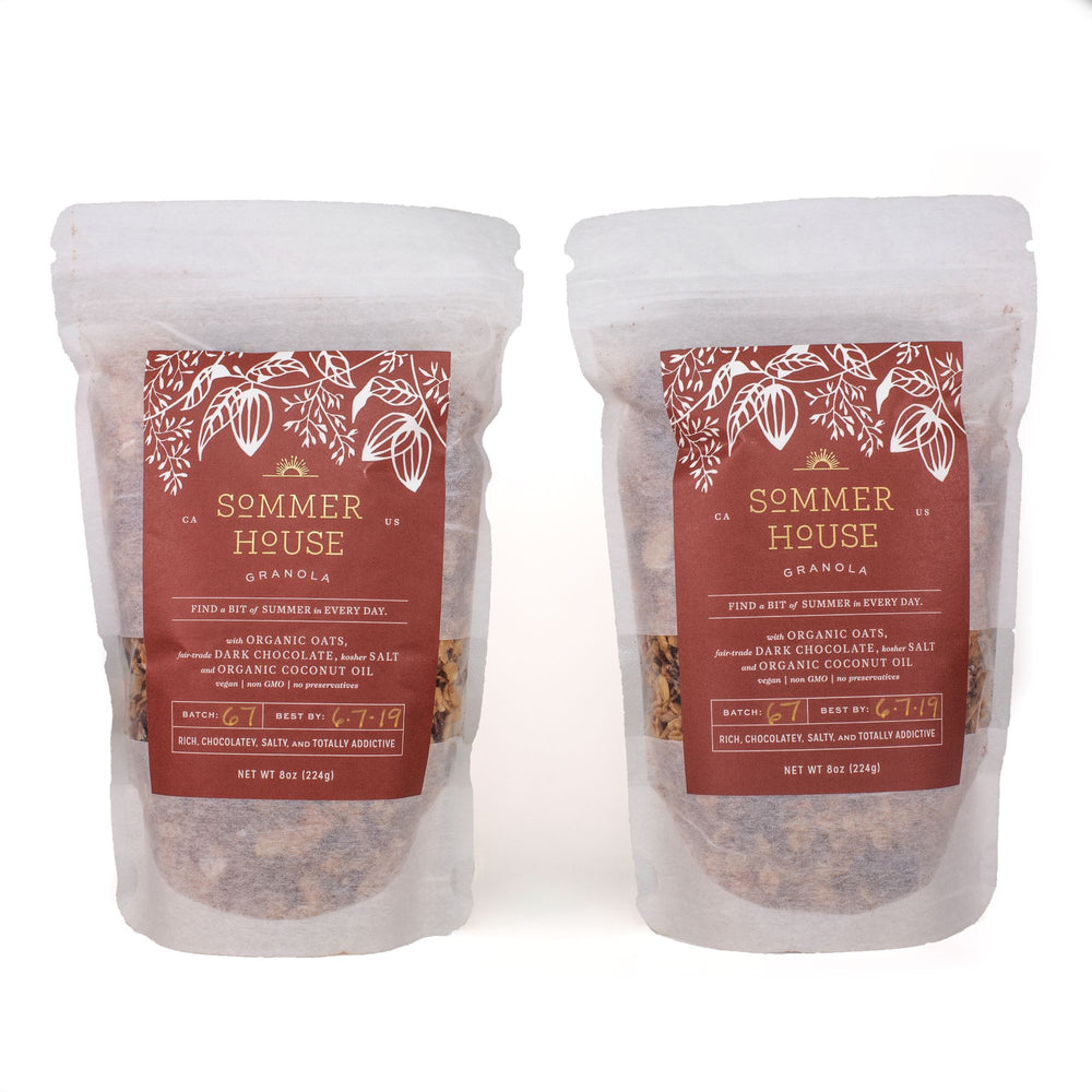 Sweet, salty, fair-trade dark chocolate vegan granola handcrafted in Southern California.