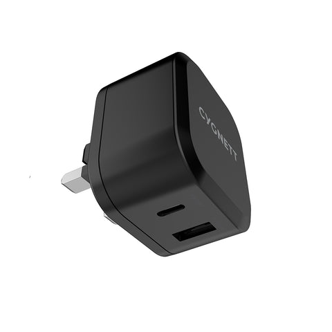 30W Dual USB-C & USB-A Wall Charger - UK Black