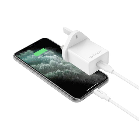 18W Wall Charger + Lightning to USB-C Cable - White
