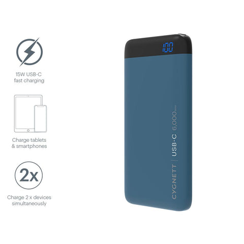 6000mAh USB-C Power Bank in Teal - Cygnett (AU)
