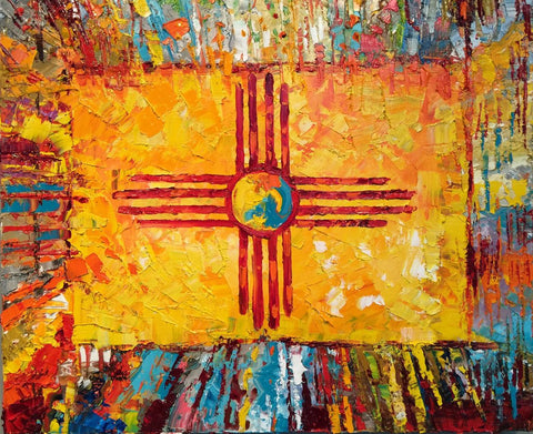 """Land of Enchantment""  New Mexico Flag print on canvas 24"" x 30"""