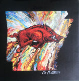"12"" X 12"" Razorback on Stretched canvas."