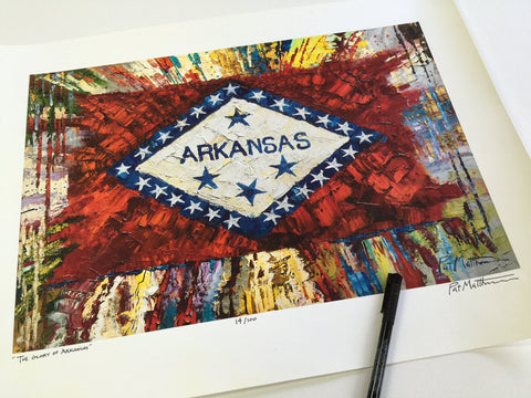 "Arkansas Flag.... Archival, Limited Edition, Signed Print.. ""The Glory of Arkansas"" #017 on 18 x 24 paper"