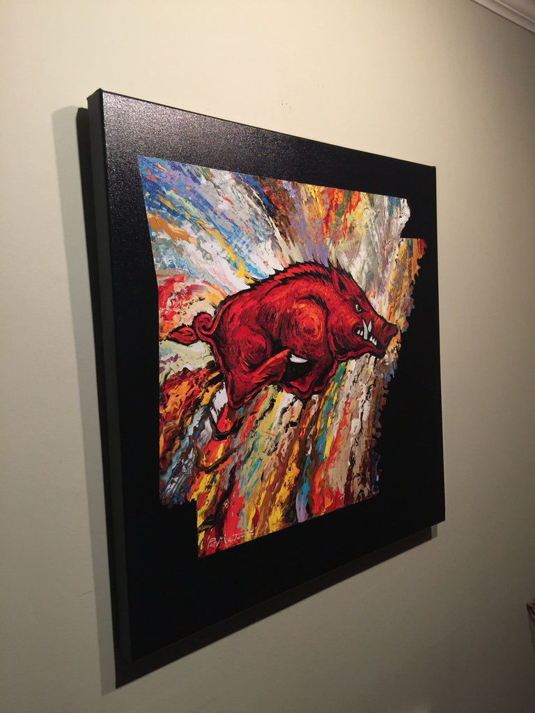 Copy of Archival Print on Canvas of The Arkansas Razorback on Black Background. #030