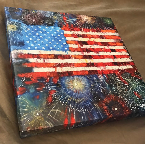 "On sale for July 4th!!  12"" x 12"" Gallery Wrapped ""CELEBRATE FREEDOM"""