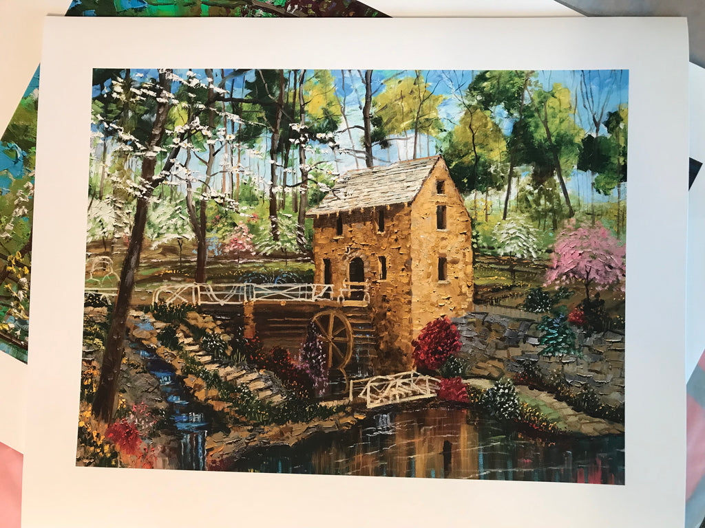 "The Old Mill in Spring:  20"" x 24"" paper with a 16"" x 20"" image."