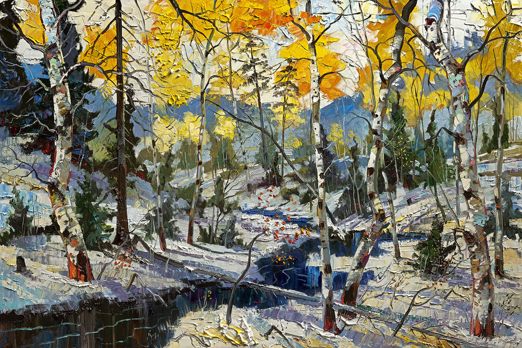 Archival Print on Canvas of Aspen Trees in Winter 004