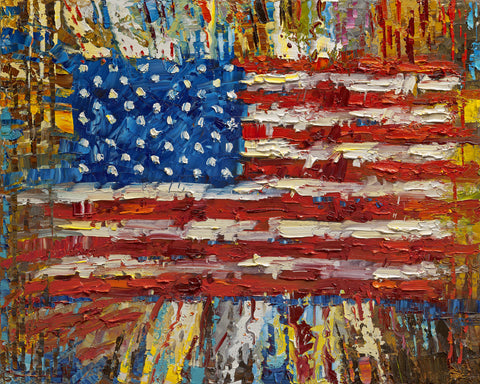 "Archival Print on Canvas of The American Flag ""The One Thing""  007"