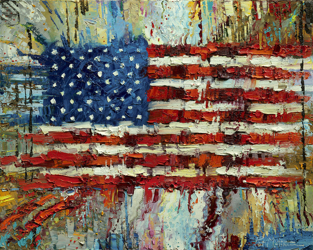 """Free Spirit"" Archival Print on Canvas of The American Flag 018"
