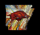 Archival Print on Canvas of The Arkansas Razorback on Black Background. #030