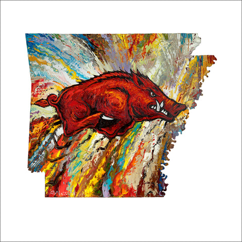 """Go Big Red"". Image is approximately 20"" x 20"" on  24"" x 24"" paper.  Licensed image by the University of Arkansas"