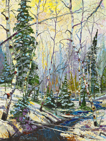 Archival Print on Stretched Canvas  Winter Scene with Aspens 040