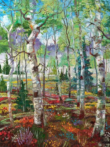 """.. ""The Evolving West"": Four Seasons in the Aspen Grove... Spring, Summer, Fall and Winter each on 40"" x 30"" Stretched Canvas"