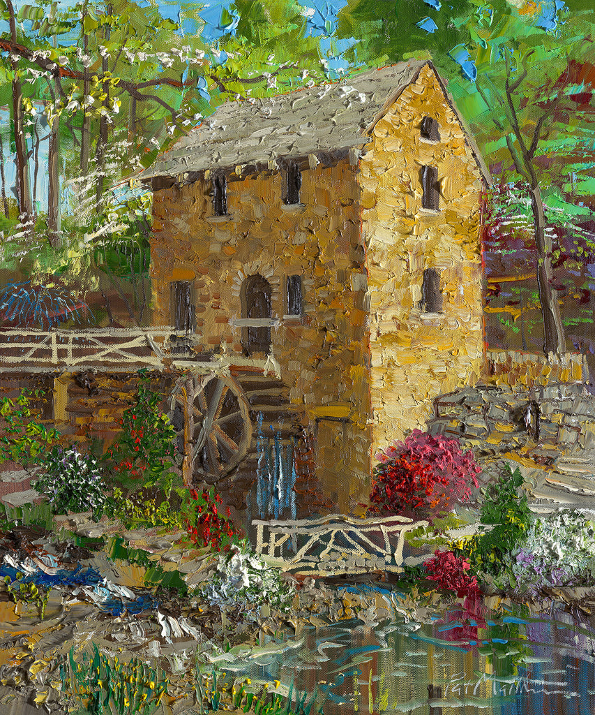 """Spring Colors at the Old Mill"" on 24 x 18 Archival paper with 1.5"" white border.  Archival Giclee Print, Signed and Numbered on 300 lb. Archival Paper.#061"